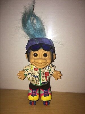 Roller Blading Troll Doll Vintage Toy 6 Inches Tall