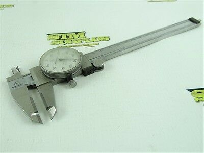 "Mitutoyo 6"" Precision Carbide Faced Dial Calipers .001"" Shock Proof Stainless"