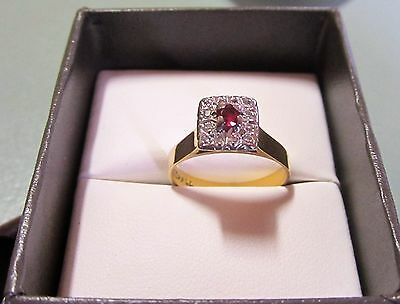 Ruby and Diamond Engagement Ring Vintage