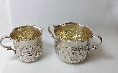 Antique Sterling Silver Repousse Mermod Jaooard Sugar / Creamer Set