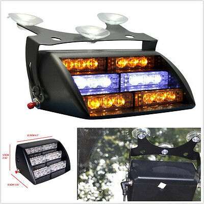 18 LED Amber Emergency Hazard Warning Windshield Dashboard Flash Strobe Light