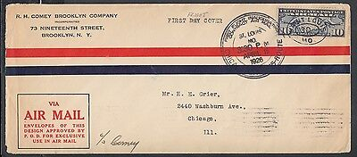 Usa 1926 First Flight Cover Ffc St Louis Missouri To Chicago Illinois