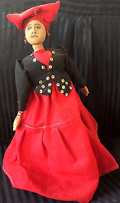 Antique Marie Laveau Black Americana Stockinette Display Doll Handmade Folk Art
