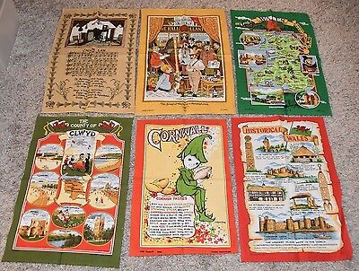 lot of 6 vintage NEW Tea Towels UK Wales Cornwall CLWYD Linen & Cotton Britain
