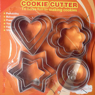 Cute 12X Star Heart Flower Round Shape Cookie Cutter Cake Biscuit Fruit Egg Mold