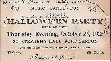 1928 Halloween Party Ticket*port Carbon Pa*pottsville*st Stephens Hall*