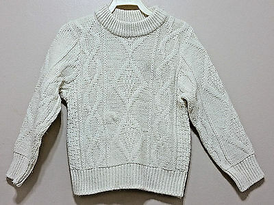 Vtg 60's/70's PREGO Toddler Sweater 3T 4T Cream Cable Knit Wintuk Kids Boy Girl
