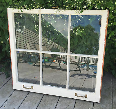 VINTAGE SASH ANTIQUE WOOD WINDOW PICTURE FRAME PINTEREST WEDDING 6 PANE 31 x 28