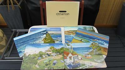 6 PLACEMATS Surfing Safari Cinnamon Cork backed Large size