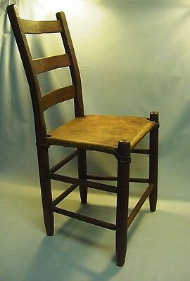 ~! 1800's Primitive Wooden Chair w. Thick Rawhide Leather Seat
