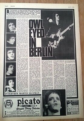 LOU REED 'owl eyed' 1973 UK ARTICLE / clipping