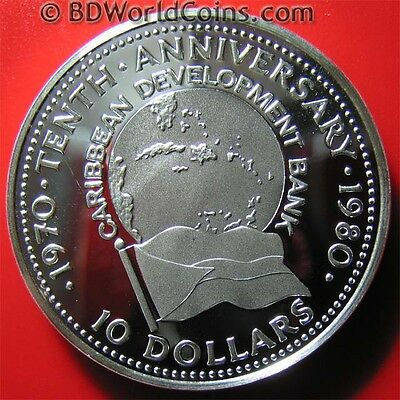 1980 Bahamas $10 Silver Proof Caribbean Development Bank Rare Mint=1,001 Coins!