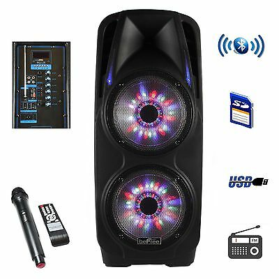 "BeFree SOUND 4000W 2x10"" WOOFER BLUETOOTH PORTABLE PA DJ SPEAKER + LIGHTS & MIC"