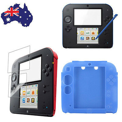 Soft Silicone Rubber Skin Case Cover + Clear Screen Protector for Nintendo 2DS