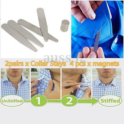 """2 Pairs 2.2"""" Silver Metal Magnetic Collar Stays w/ 4pcs Chip Resistant Magnets"""