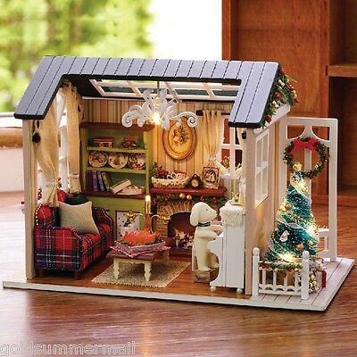 CUTEROOM DIY Wooden House Furniture Handcraft Miniature Kit with Cover LED Light