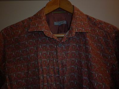 Vintage Ted Baker Cotton Ls Shirt Size Small Excellent Condition
