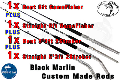 4x 24kg Standup Game Fishing Rods 1x6ft BENT 1x5'3ft BENT 1x6ft Str 1x5'3ft Str