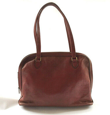 French vintage leather bowling style handbag TEXIER tan leather