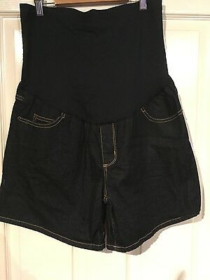 NEW LIZ LANGE LADIES blue over the bump maternity Shorts size 12-14