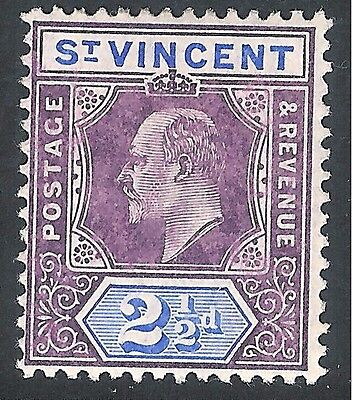 St Vincent 1904 purple/blue 2.5d multi-crown CA mint SG88