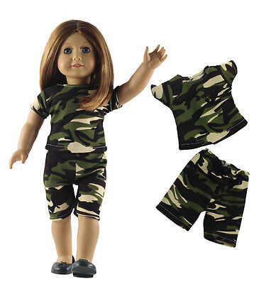 2in1 Set Camouflage clothing Top+Pants Outfit For 18'' American Girl Doll