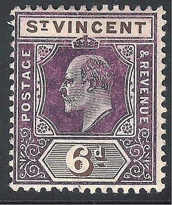 St Vincent 1904 purple/brown 6d multi-crown CA mint SG89