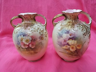 DOULTON BURSLEM Antique Hand Painted Pair of Two Handled Vases