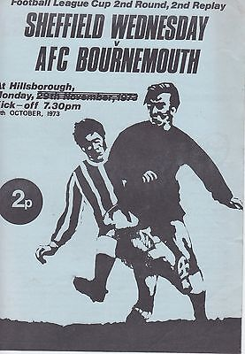 SHEFFIELD WEDNESDAY v BOURNEMOUTH ~ LEAGUE CUP 2ND RD REPLAY ~ 15 OCTOBER 1973