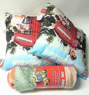 One Direction Set of 3: 1 Throw Blanket and 2 Throw Pillows - New