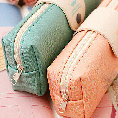 New Leather Cosmetic Makeup Bag Pen Pencil Stationery Case Zipper Pouch Box