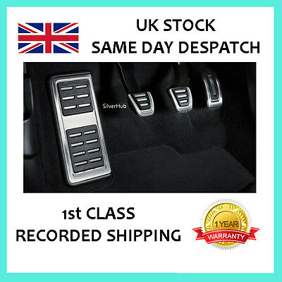 For Audi A4 S4 B8 Chrome Sport Manual Fuel Brake Clutch Footrest Pedal Cover Set