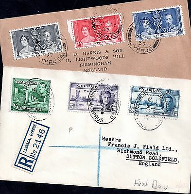 Cyprus 1937 Coronation and 1946 Victory FDC x 2 WS3351