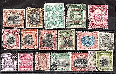 North Borneo used unchecked collection x 18V WS3333