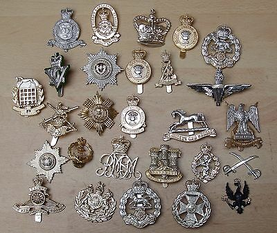 Assortment of used Staybright British Army cap badges