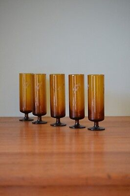 Vintage 5 x Spanish amber tall glasses champagne  etched glass retro OT5