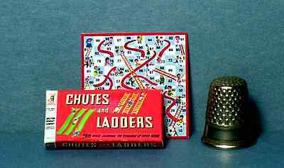 Dollhouse Miniature  Chutes and Ladders Game 1950s retro dollhouse game toy 1:12