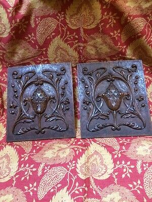 Pair of antique carved wooden panels