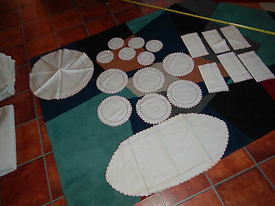 Set Of Antique Linens For Table ..coasters, Placemats, Round Table Buffet