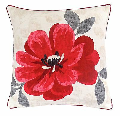 "Monet Floral Flower Red Beige Cream 100% Cotton Piped Cushion Cover 17"" - 43Cm"