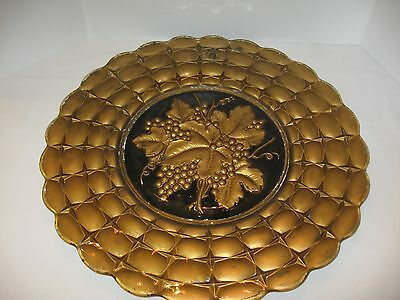 """Antique Victorian Glass Charger Plate Tray 19"""" black gold Grapevine Charger plat"""