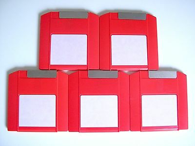 5 x IOMEGA ZIP 100 MB DISKS - PC FORMATTED - RED - USED