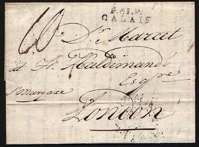 1802 Calais to London beautiful cover with Calais & Foreign Office cancels