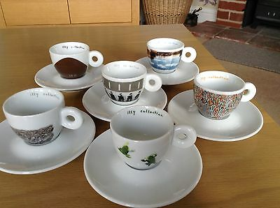 6 X Illy Art Espresso Cups & Saucers