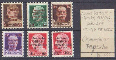 1944: German Occupation. Kotor. Italian Stamps. Misprints