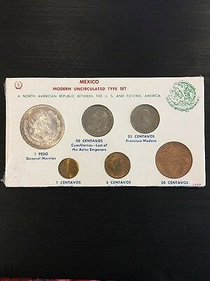Uncirculated 1966 Mexico Type Set Silver Foreign Coin Free S/H