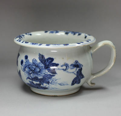 Antique Chinese small blue and white chamber pot, Qianlong (1736-95)