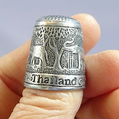 Pewter Sewing Thimble Casing Cap Collectible Souvenir Gift Thailand Elephant #03