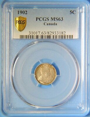 1902 Canada Edward VII Silver 5 Cents Coin PCGS Graded MS63 BU Uncirculated