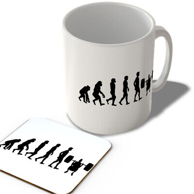 MAC_EVO_031 Evolution of Man - Weight Lifting/Gym - Mug and Coaster set